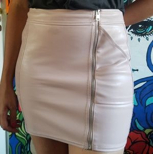 Express faux leather pink skirt